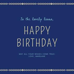 Navy Blue Happy Birthday Wish Instagram Post template
