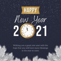 Navy Blue New Year Wish Instagram Iphosti le-Instagram template