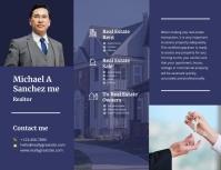 Navy Blue Real Estate Agency Advertising Broc Flyer (US Letter) template