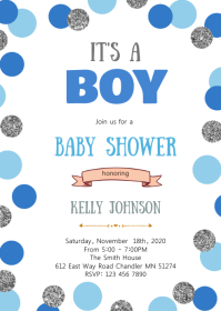 Navy blue silver confetti shower invitation
