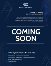 Navy Blue Tech Coming Soon Flyer template