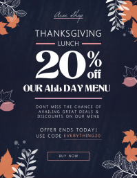 Navy blue Thanksgiving lunch flyer template