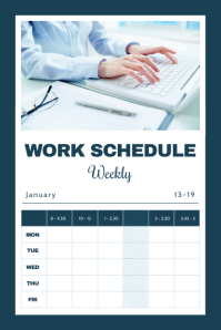 Navy Blue Work Schedule Portrait Poster