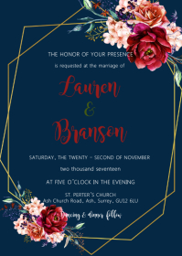 Navy burgundy wedding invitation