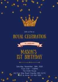 Navy crown princess prince invitation