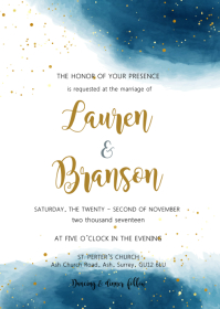Navy gold watercolor theme invitation A6 template