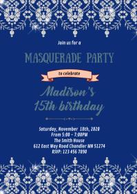 Navy masquerade theme invitation A6 template