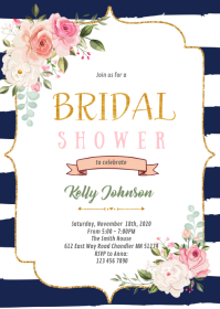 navy stripe pink flower theme invitation A6 template