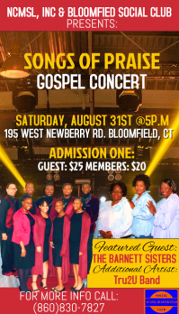NCMSL GOSPEL CONCERT TICKETS Business Card template