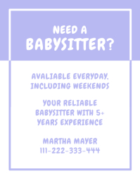 Need A Babysitter Flyer