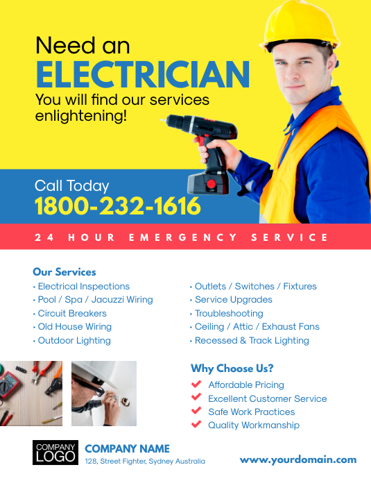 Need An Electrician Business Flyer Template Postermywall