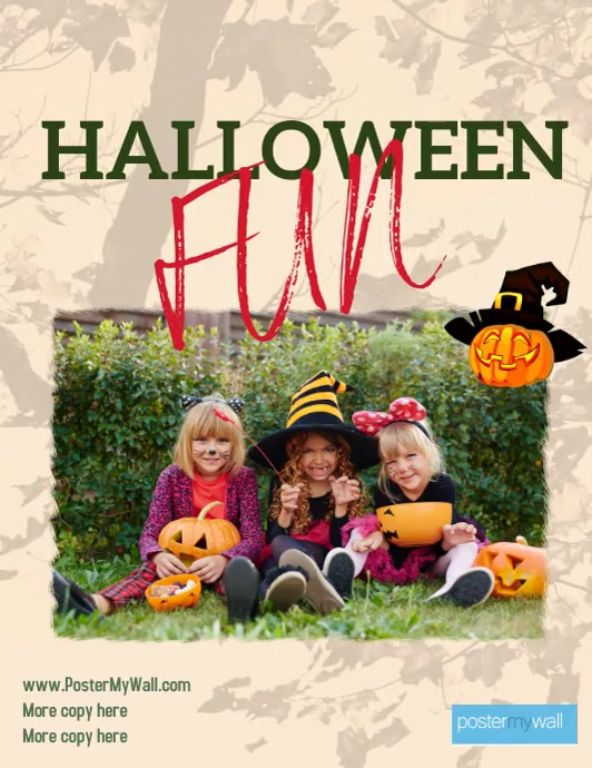 Neighborhood Halloween event with kids in cos Løbeseddel (US Letter) template