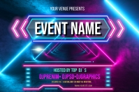 Neon Background Banner 4 x 6 fod template