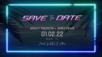 Neon Beach Tropical Save the Dates Video Digital Display (16:9) template