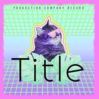 Neon Cat Trippy House Trance Album Cover Ikhava ye-Albhamu template
