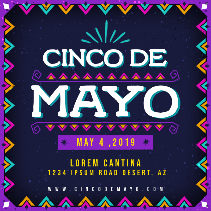 Neon Cinco de Mayo Party Invitation Wpis na Instagrama template