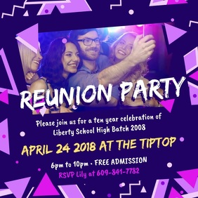 Neon Club themed Reunion Party Invite Square (1:1) template