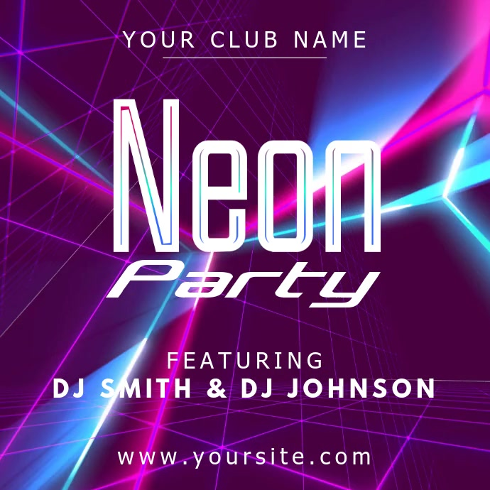 Neon Dance Party Instagram Video Template Instagram-opslag