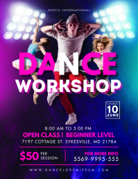 Neon Dance Workshop Classes Flyer Folder (US Letter) template