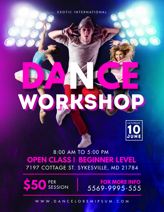 Neon Dance Workshop Classes Flyer Løbeseddel (US Letter) template