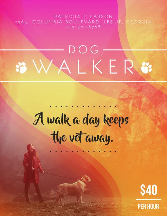 Neon Dog Walker Flyer Design