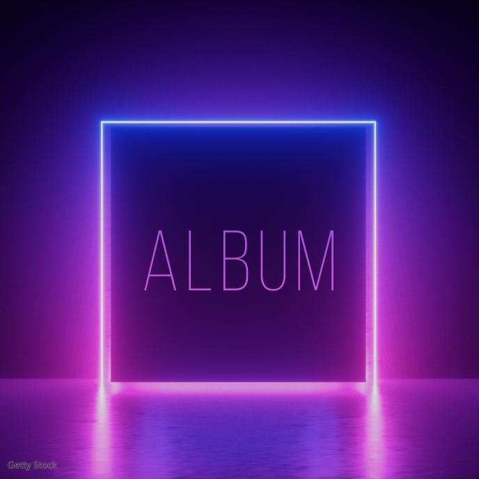 Neon Frame Clean Album art template