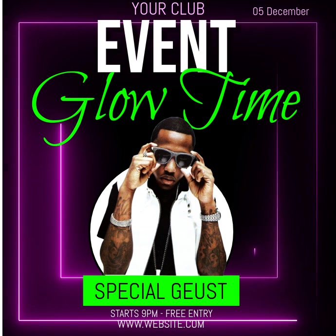 neon glow event ad template social media