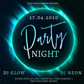 Neon Glow Party Event Design Template Square (1:1)