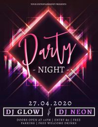 Neon Glow Party Event Design Template Flyer (format US Letter)