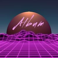 Neon Grid Vaporwave album cover video template