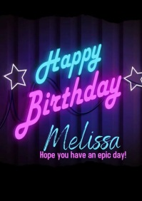 Neon Happy Birthday Greeting Video A4 template