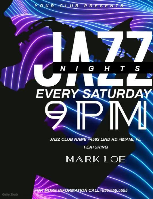 Neon Jazz Night Flyers Bar Club Løbeseddel (US Letter) template