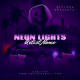Neon Lights CD Cover Template