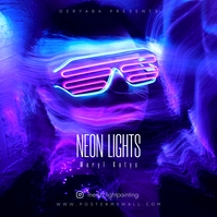 Neon Lights Music Mixtape CD Cover ปกอัลบั้ม template