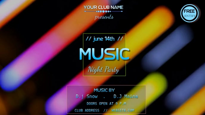 NEON LIGHTS MUSIC PARTY TEMPLATE Digitalt display (16:9)