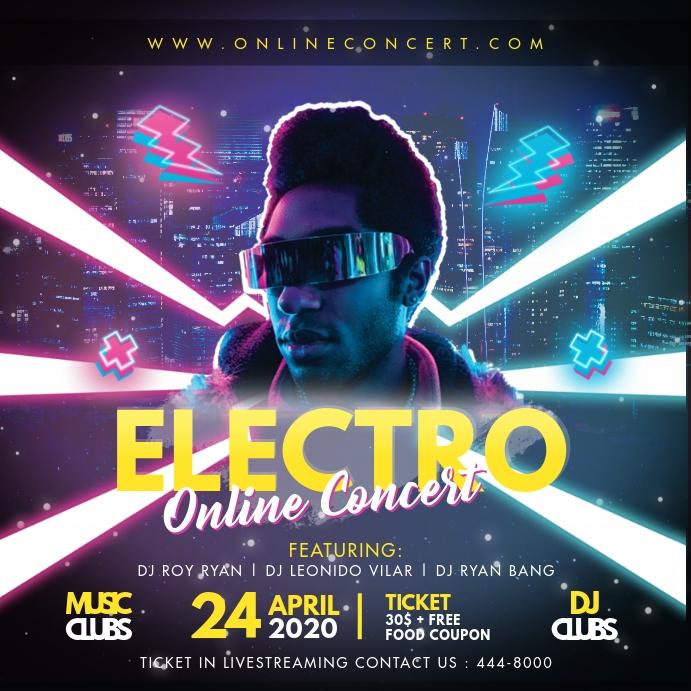 Neon Lights Trance Modern Electronic Music FB Instagram-bericht template