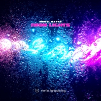 Neon Lights Web Album CD Cover Music template