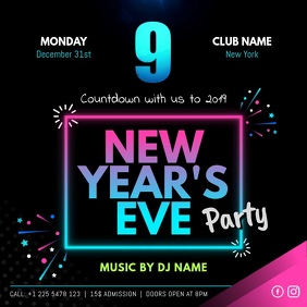Neon New Year Eve Party Instagram Video Template