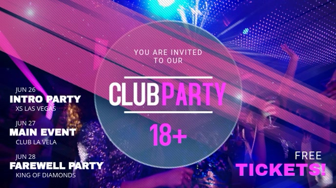 Neon Night Club Party Event Schedule Template Digital na Display (16:9)