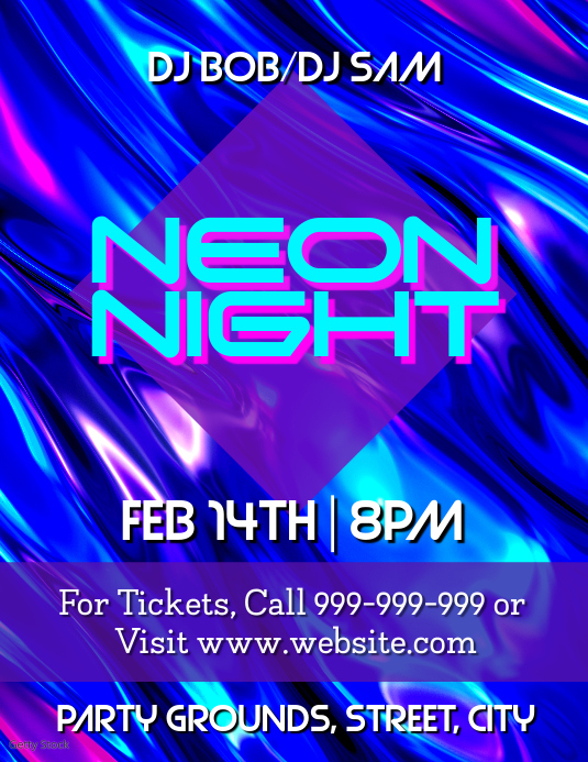 Neon Night Pamflet (VSA Brief) template