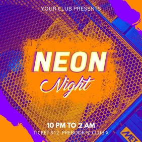Neon Nightclub Party Event Ad Square Video