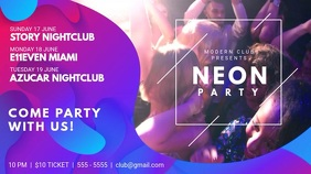 Neon Nightclub Party Event Schedule Template
