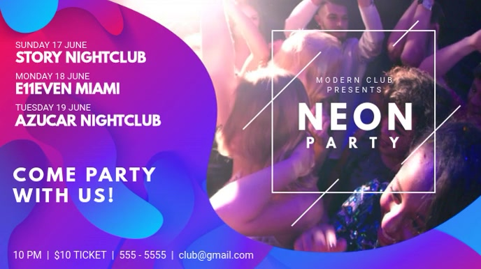 neon nightclub party event schedule template postermywall