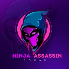 Neon Ninja Gamer Logo template