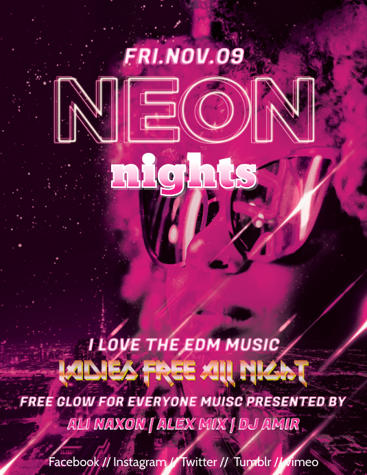 neon pajama party flyer template postermywall