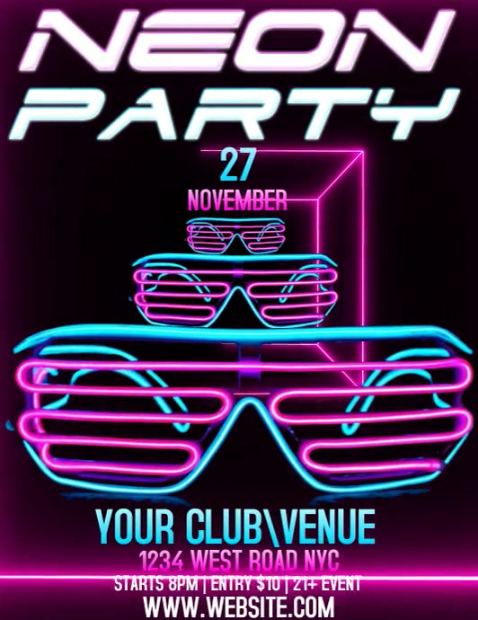 NEON PARTY Folder (US Letter) template