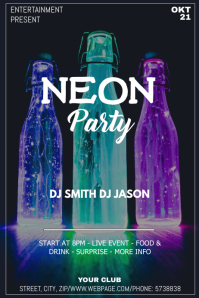 Neon party event flyer template