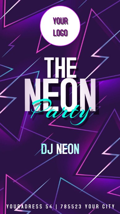 NEON PARTY FLYER Instagram Story template