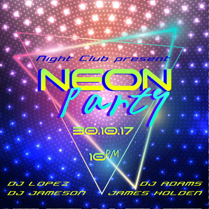 Neon Party Instagram Post Template | PosterMyWall
