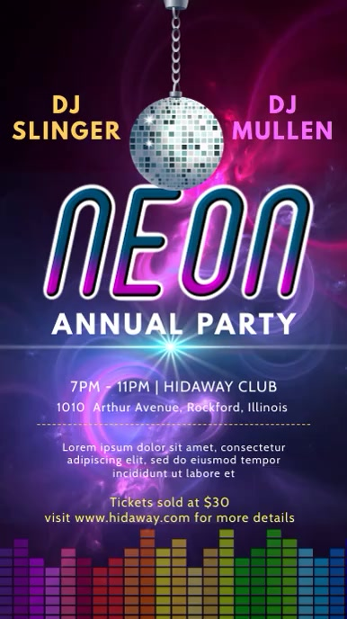 Neon Party Nightclub Digital Display Video Template